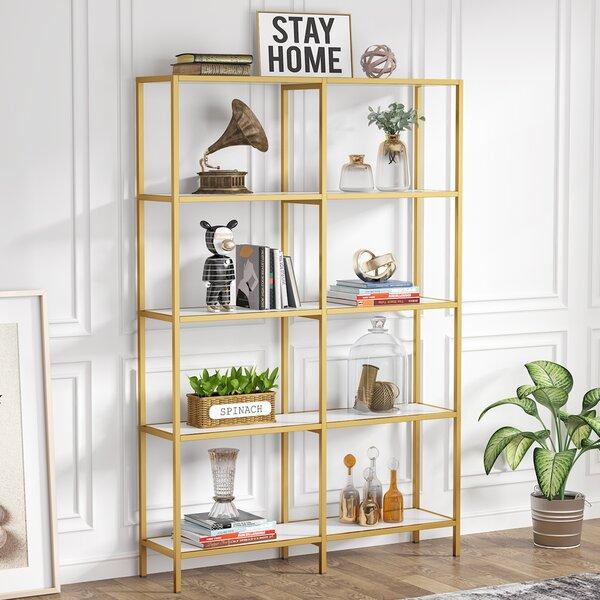 Everly Quinn Cherell 70 87 H X 47 24 W Metal Etagere Bookcase Wayfair