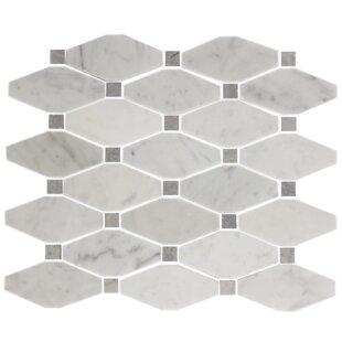 Octagon Offset Random Sized Carrara Marble Mosaic Tile In White Gray