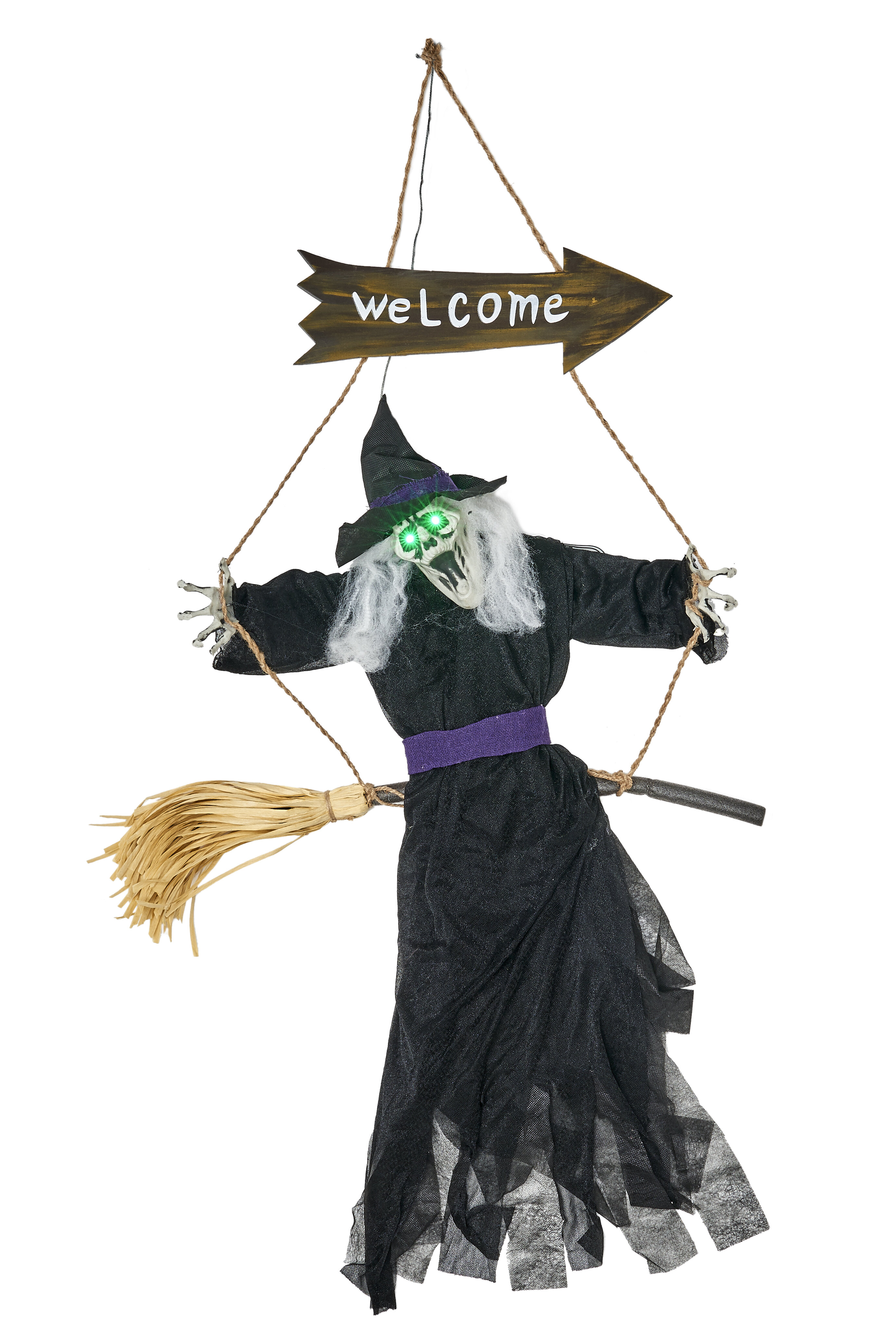 Winter Holiday Witch broom Door Hanger