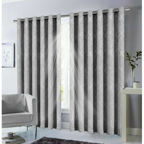 Kalyn Eyelet Blackout Thermal Curtains Marlow Home Co. Colour: Grey, Panel Size: 167.64 x 182.88cm