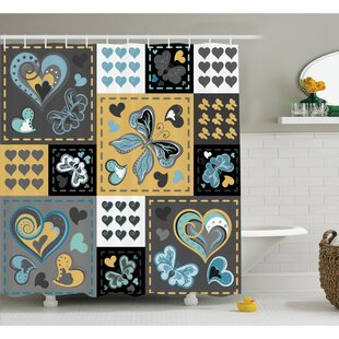Farm House Dark Textured Vintage Ornament Heart and Butterfly Motif in Mix Retro Design Shower Curtain Set