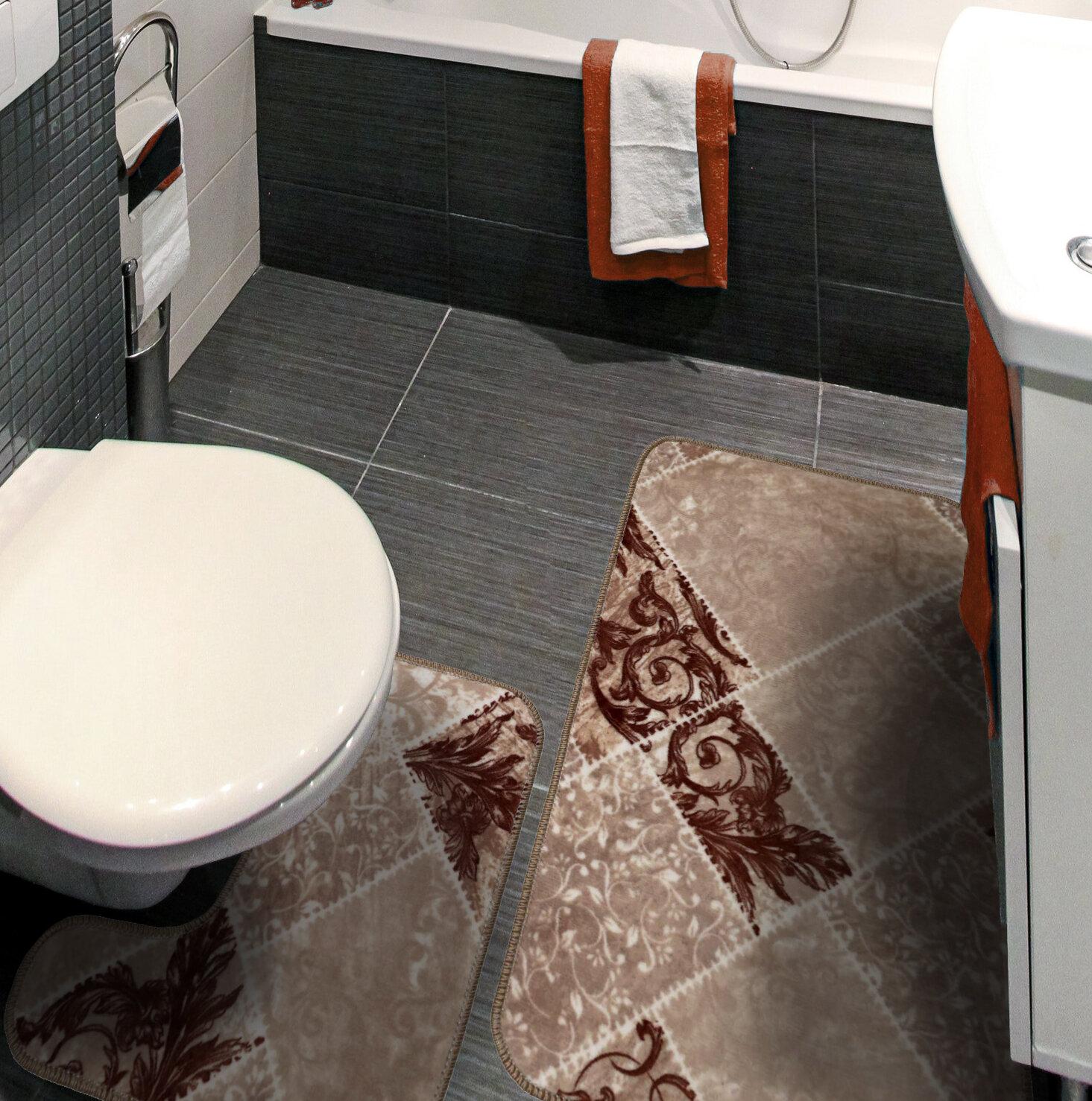 Bath Mat Set Non Slip Rubber 2 Piece Pedestal Bathroom Rug Fish Print Luxury New