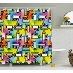 Beehler Fun Characters Pattern Shower Curtain + Hooks