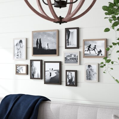 Three Posts Kate and Laurel Bordeaux Gallery Wall Kit, Set of 10 with Assorted Size Frames in 3 Different Finishes - White Wash, Charcoal Grey, and Ru