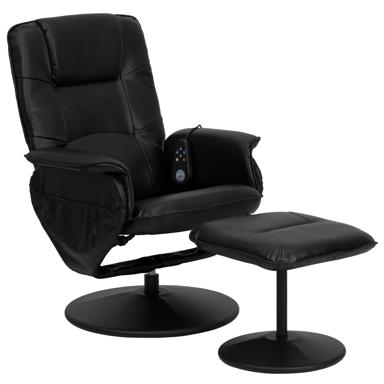Latitude Run Leather Heated Reclining Massage Chair U0026 Ottoman U0026 Reviews |  Wayfair