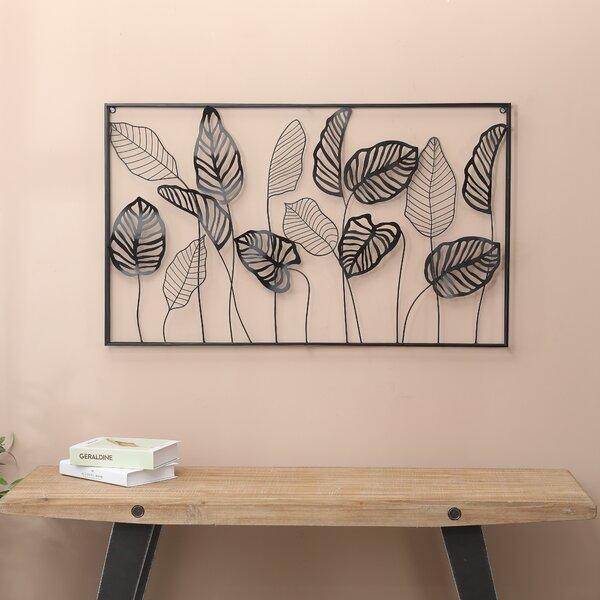 Ebern Designs Metal Framed Horizontal Leaf Wall Decor Reviews Wayfair