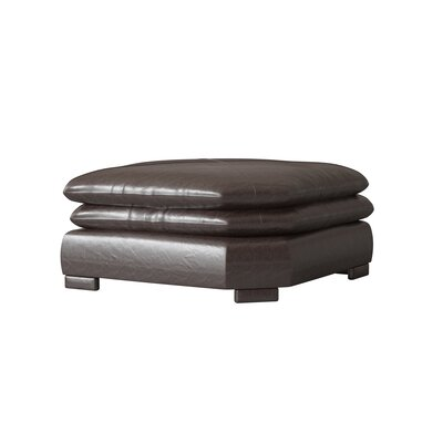 Fargo Leather Wedge Ottoman Omnia Leather Body Fabric: Guanaco Dark Brown
