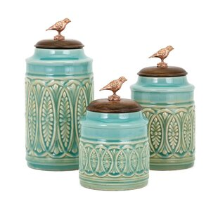 Canister with Songbird Lid Top 3 Piece Kitchen Canister Set