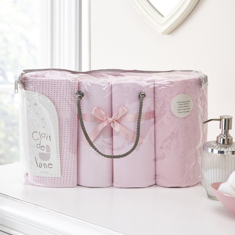 Clair de Lune Stars /& Stripes 3 Piece Moses Basket Bedding Bale Gift Set