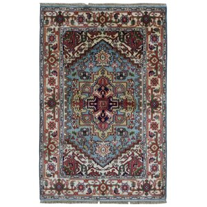 Roselle Traditional Hand Woven Wool Blue/Beige Area Rug