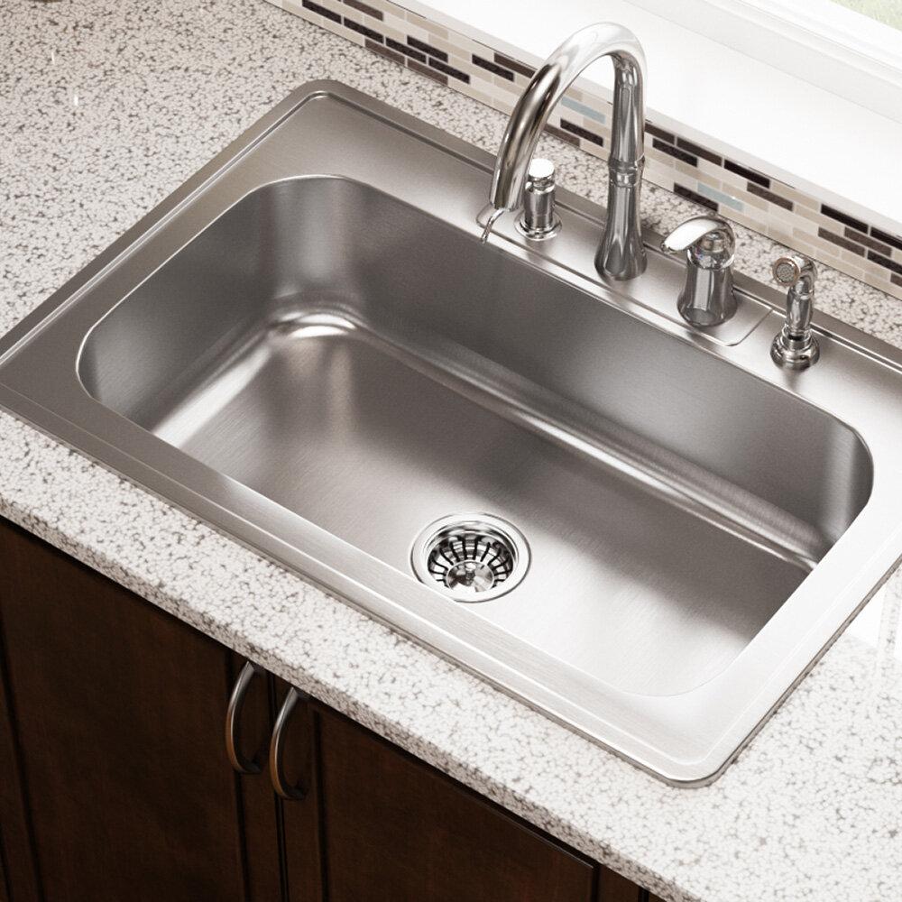 Mrdirect stainless steel 32 l x 22 w drop in kitchen sink reviews wayfair