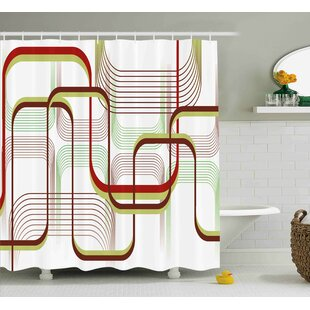 Karp Modern Geometric Contemporary Wavy Lines With Abstract Shapes Designs Art Image Single Shower Curtain