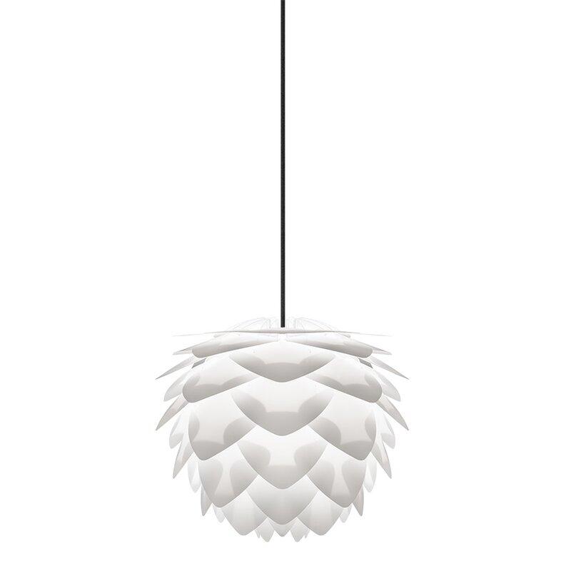 "Mercury Row  Westerberg 1-Light Novelty Pendant Cord/Cable Finish: Black, Size: 10.6"" H x 13.4"" W x 13.4"" D, Finish: White"