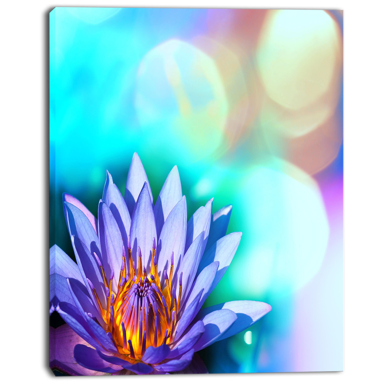 Designart Blossoming Purple Lotus Flower Graphic Art On Wrapped