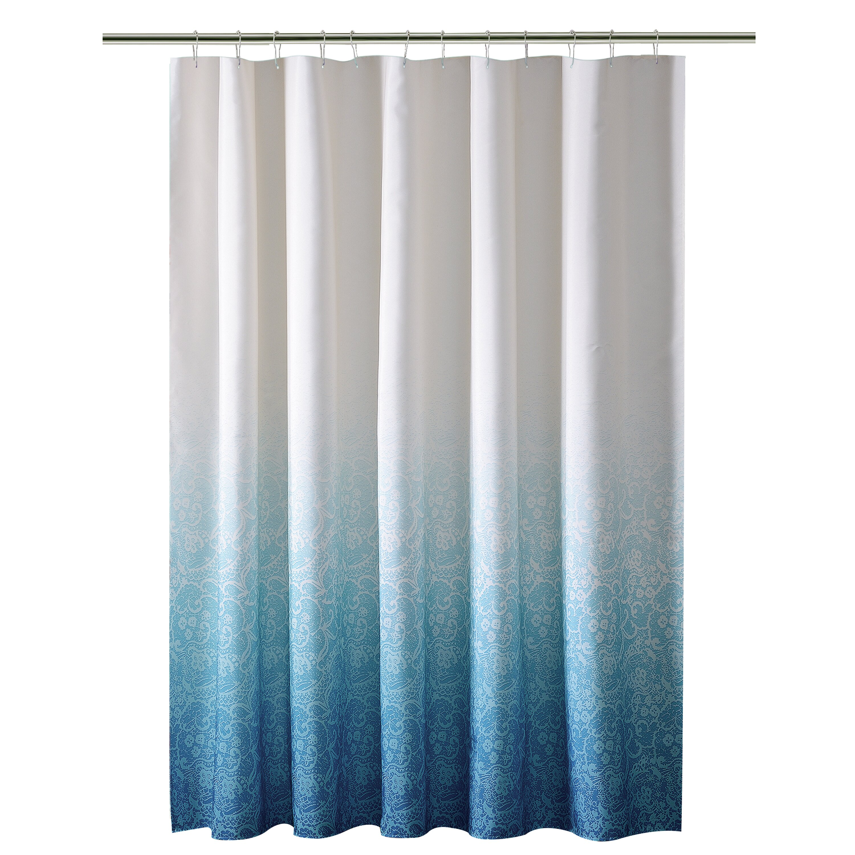 Shower Curtains Bath 13 Piece Waffle Fabric Ombre Shower
