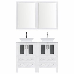 Modern 48 Double Bathroom Vanity Set with Mirror by LessCare