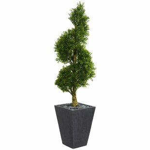 Spiral Artificial Floor Boxwood Topiary In Planter