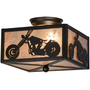 Meyda Tiffany Motorcycle 2-Light Flush Mount