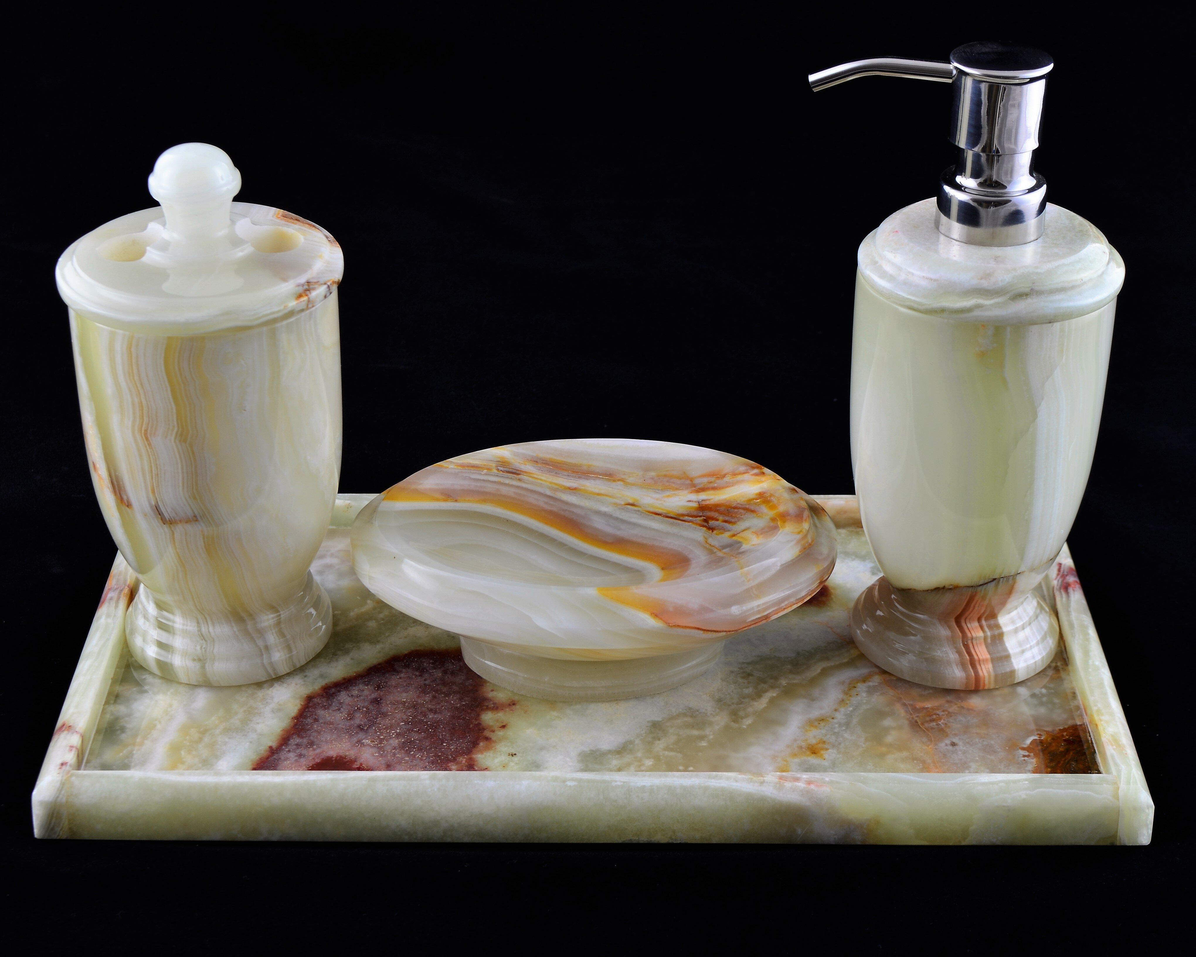Nature Home Decor Pistachio Onyx 4 Piece Bathroom Accessory Set With Vanity Tray Wayfair