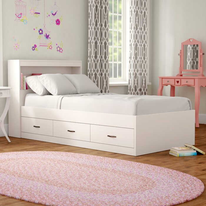Keira Platform Bed with Drawers and Bookcase
