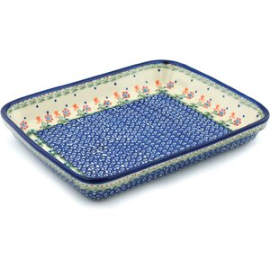 Spring Flowers Rectangular Non-Stick Polish Pottery Baker
