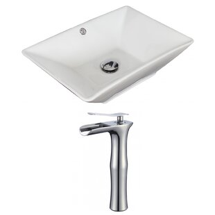 Compare & Buy Ceramic Rectangular Vessel Bathroom Sink with Faucet and Overflow By Royal Purple Bath Kitchen