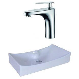 Savings Ceramic Rectangular Vessel Bathroom Sink with Faucet and Overflow ByAmerican Imaginations