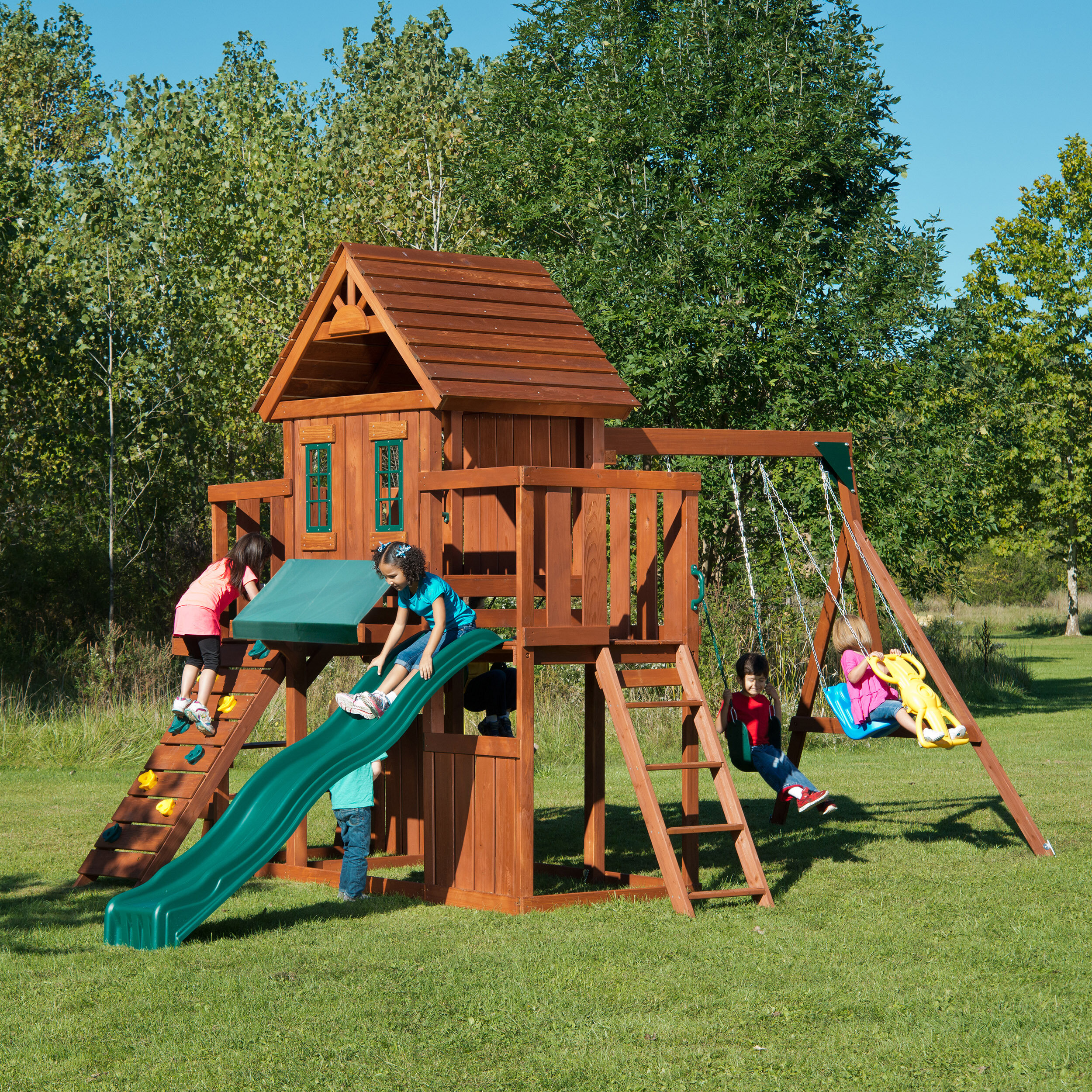 Swing N Slide Winchester Wood Complete Swing Set Reviews Wayfair
