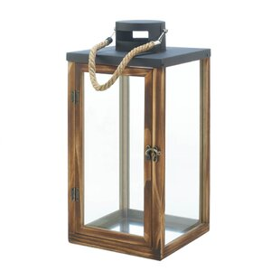 Breakwater Bay Metal Top Wood Lantern