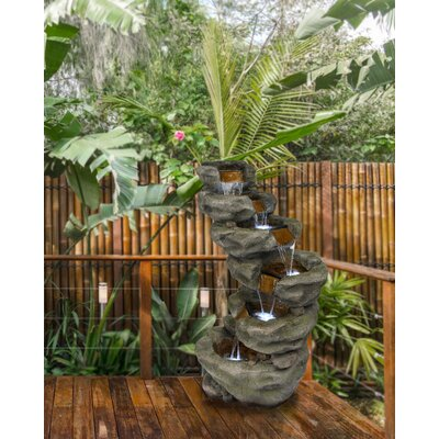 Fiberglass and Resin 6-Tier Waterfall Fountain with Light Alpine