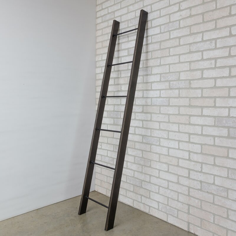 Laurel Solid Wood And Rebar Accent Ladder