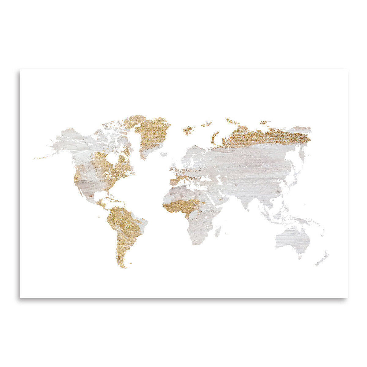 East Urban Home \'Grey Gold World Map\' by Ikonolexi Framed Graphic ...
