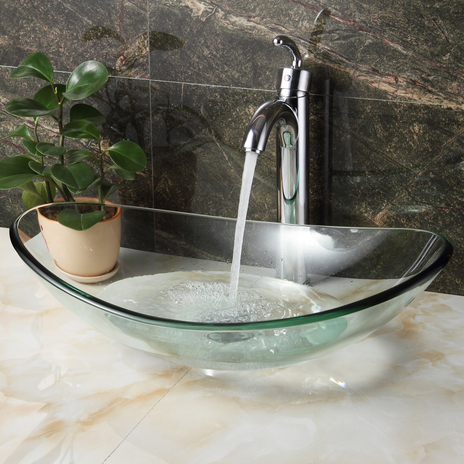 Picture of: Elite Tempered Glass Oval Vessel Bathroom Sink Reviews Wayfair