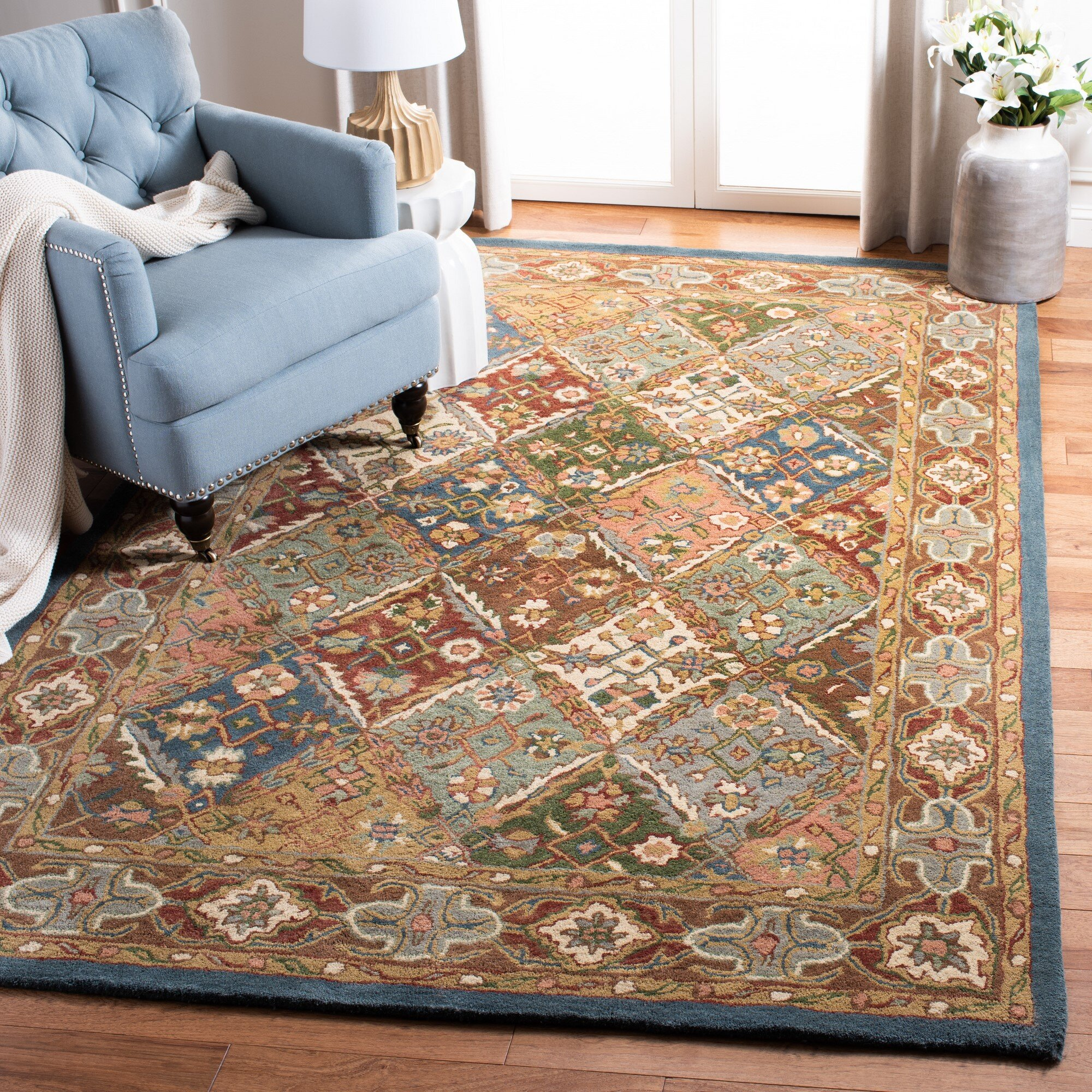 Andover Mills Morales Floral Hand Tufted Wool Green Red Area Rug Reviews Wayfair