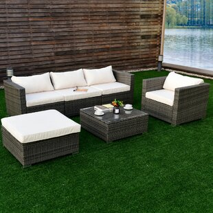 Biarritz 6 Piece Rattan Sectional Seating Group with Cushions