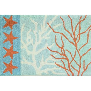 Best Price Cloverfield Coral and Stars Blue/Green Area Rug By Highland Dunes