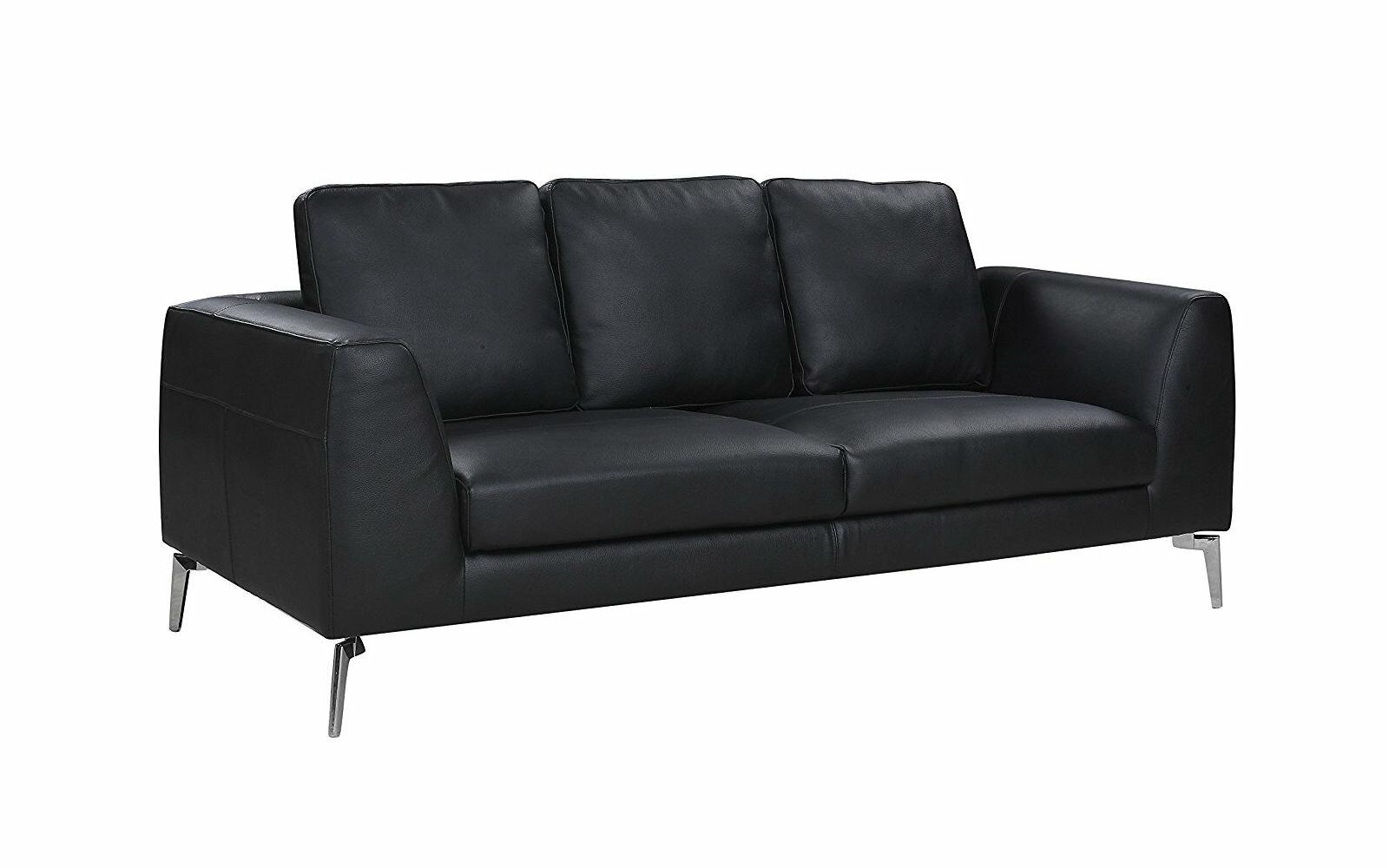 Wrayon Mid Century Modern Plush Top Grain Leather Sofa