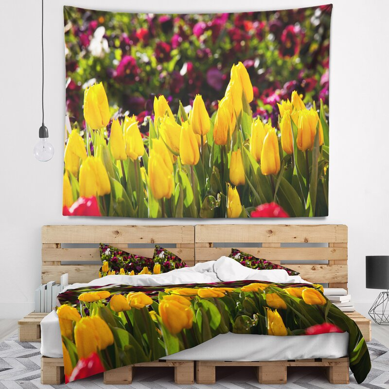 Flower Beautiful Yellow Tulips Garden Tapestry And Wall Hanging