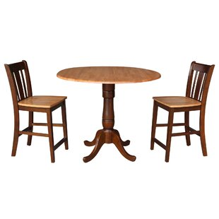 Sprayberry Round Top Pedestal Extending 3 Piece Pub Table Set August Grove