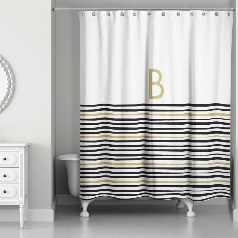 Pelagios Striped Monogram Shower Curtain