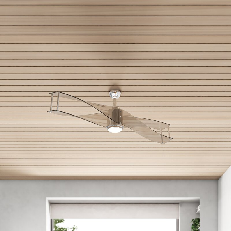 56 Safford 2 Blade Led Flush Mount Ceiling Fan With Remote Control And Light Kit Included Reviews Allmodern