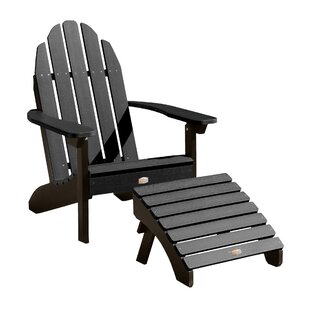 Breakwater Bay Detrick Plastic Adirondack Chair with Ottoman