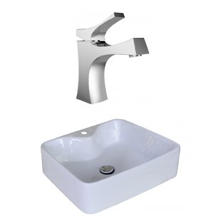 Affordable Price Ceramic Rectangular Vessel Bathroom Sink with Faucet and Overflow By American Imaginations