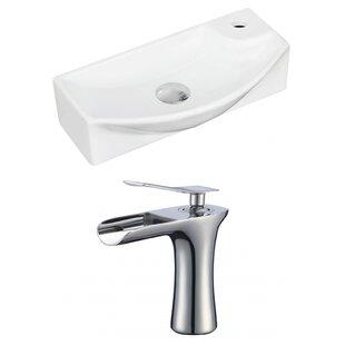 Ceramic 18 Wall Mount Bathroom Sink with Faucet ByRoyal Purple Bath Kitchen