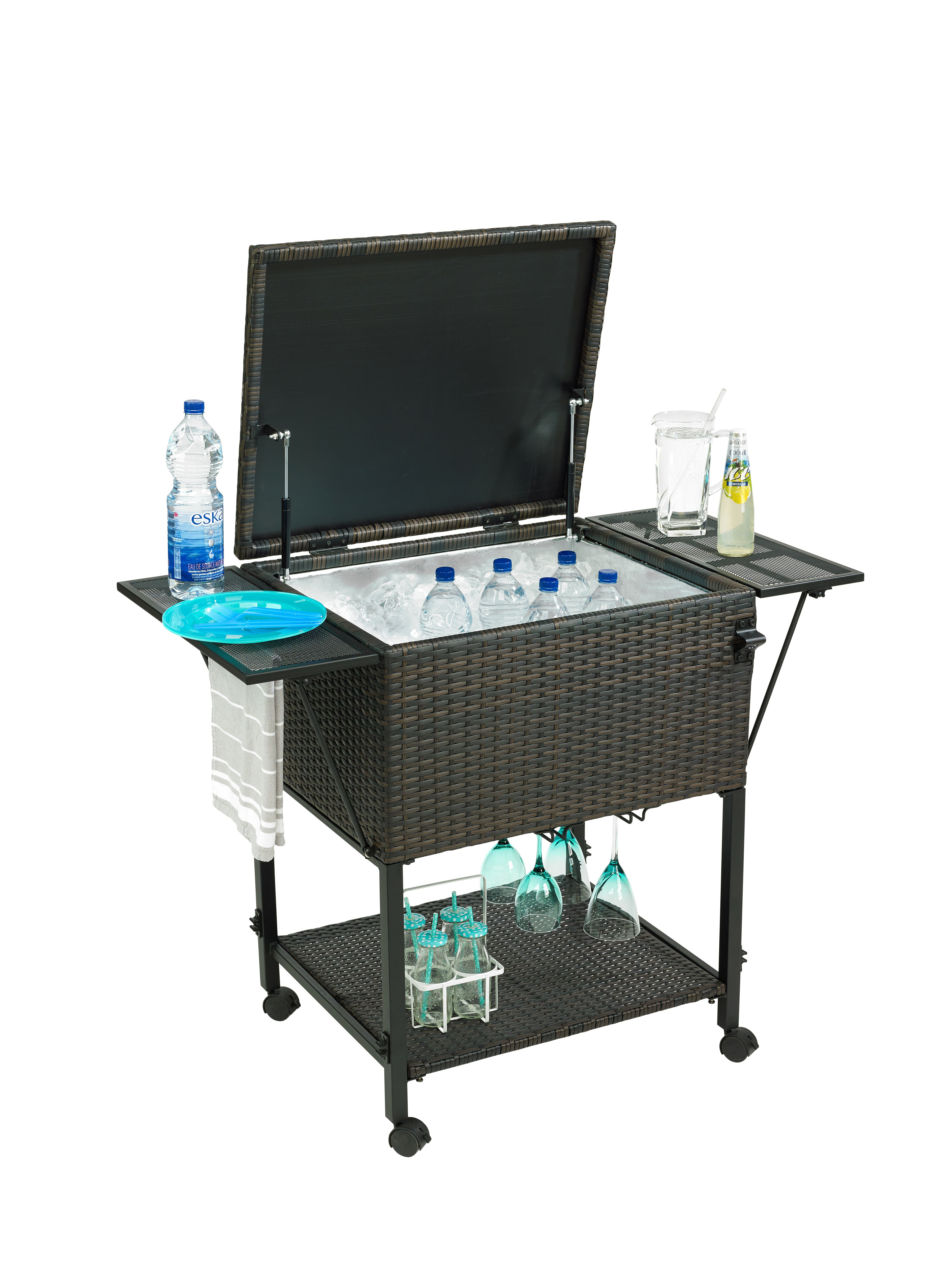 stainless patio qt cooler cart with store trinity shelf coolers steel