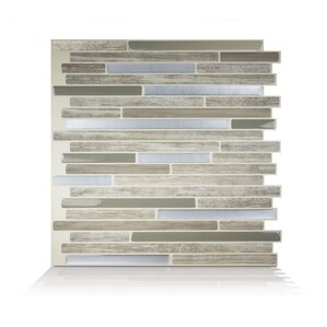 Mosaik Capri Taupe Dual 9 88 X 9 70 Peel Stick Mosaic Wall Tile In