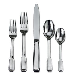 Art Deco 20 Piece 18/10 Stainless Steel Flatware Set, Service for 4