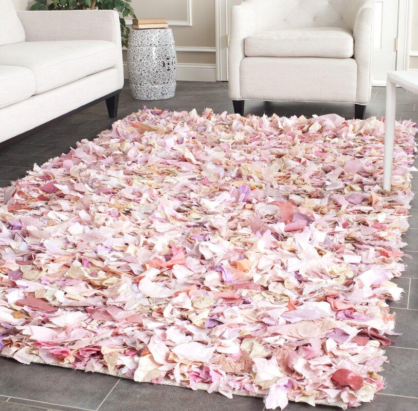 Bungalow Rose Messiah Ivory/Pink Shag Area Rug & Reviews   Wayfair
