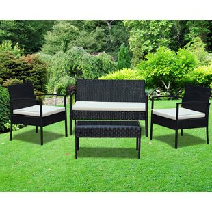 4 Piece Rattan Sofa Set with Cushions by IDS Online Corp