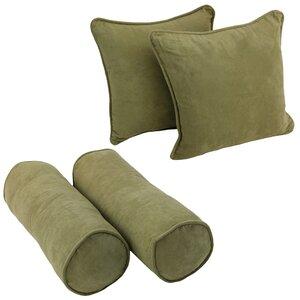 Blazing Needles Solid Twill Throw Pillows 4 Piece Set